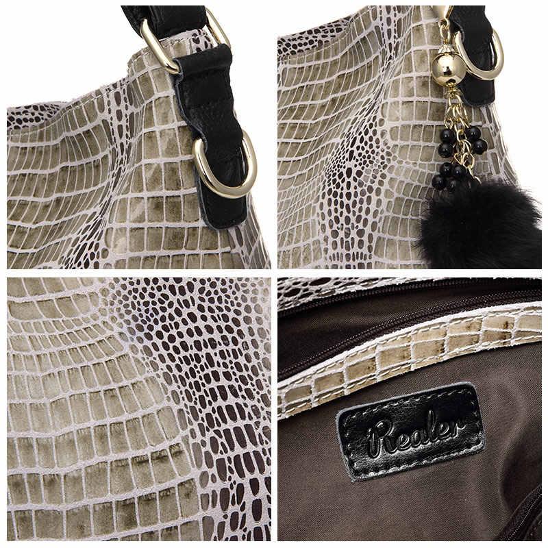 REALER бренд сумка женская натуральная кожа со змеиным узором, сумки женские на ремне через плечо, большая дамская сумочка