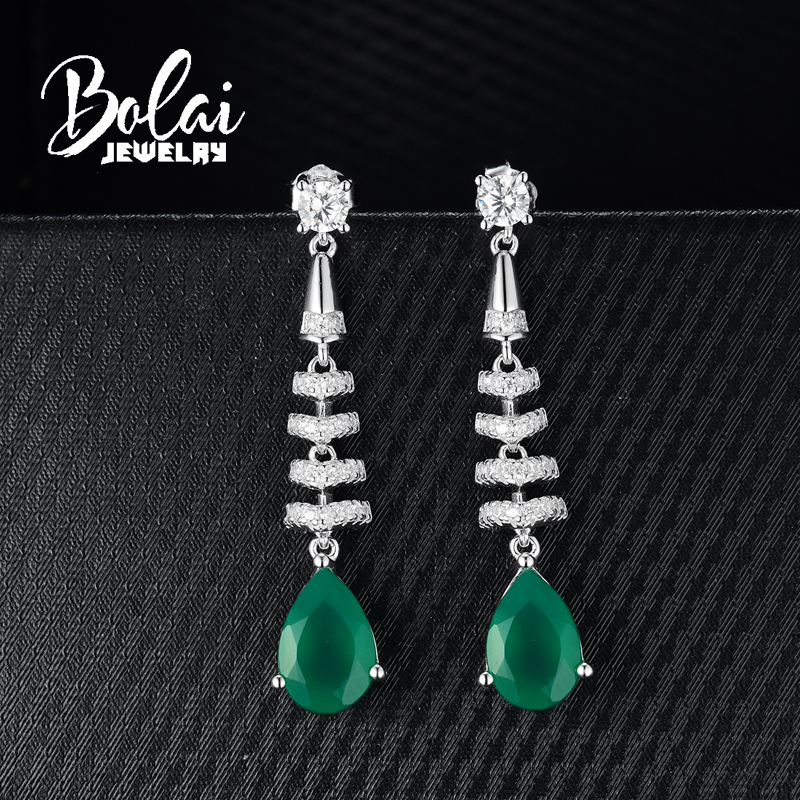 bolaijewelry Long dangle gemstone earring natural green agate in 925 sterling silver fine jewelry for women lady daily wear gift in Earrings from Jewelry Accessories