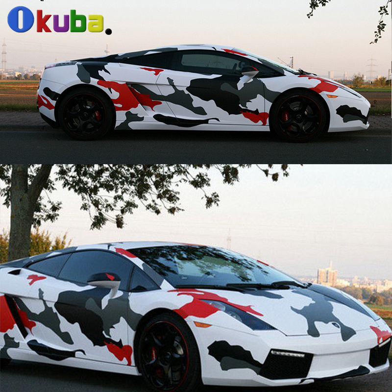 Hydrographic Film Camo Vinyl Graphics Car Wrapping Camouflage Film Black White Red Camo Vinyl Wrap Roll