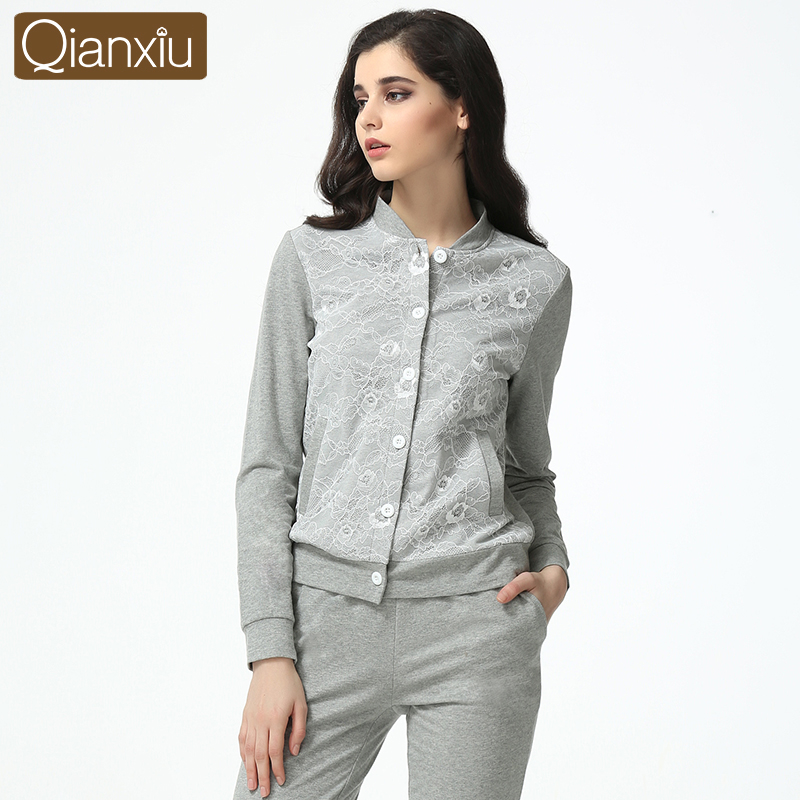 2019 Autumn Female Casual pajama sets Women baseball collar Cardigan coat pants suit Ladies lace Patchwork