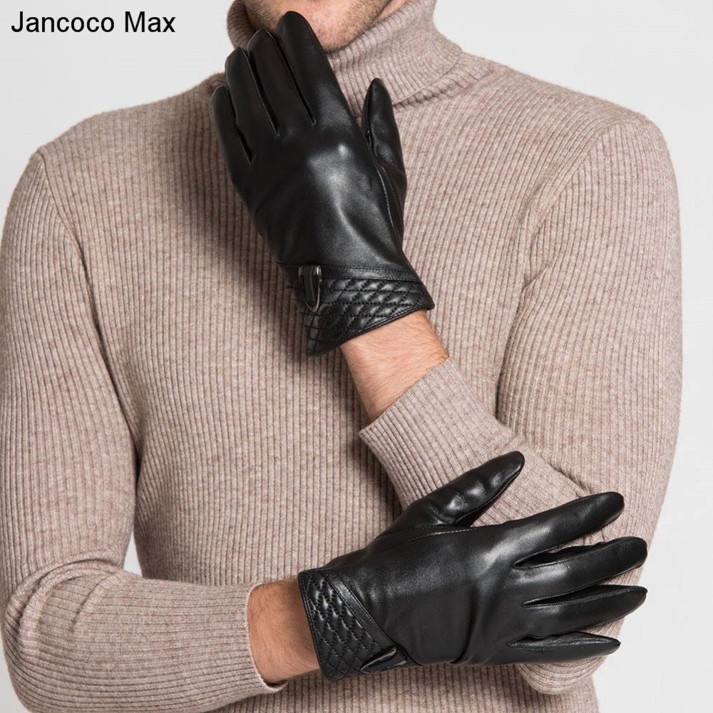 Jancoco Max 2018 Mens Genuine Leather Touch Screen Driving Gloves Winter Prevent Cold Outdoor Mittens S2062