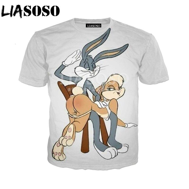 LIASOSO Summer Fashion Men Women Sweatshirt 3D Print Anime Bugs Bunny   T     Shirt   Unisex Short Sleeve Top Harajuku Pullover A077-3