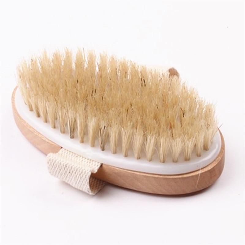 Soft Natural Wooden Bristle SPA Skin Body Bath Brush