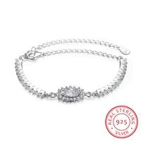 Ann Snow Romantic CZ Crystal Flower Style Jewelry 925 Sterling Silver Bracelets Bangles Jewelry Charm Bracelet