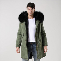 2016 новое поступление модные Для мужчин зимний толстый меховой воротник Искусственный мех ватник куртка Для мужчин Мужские парки пальто с к