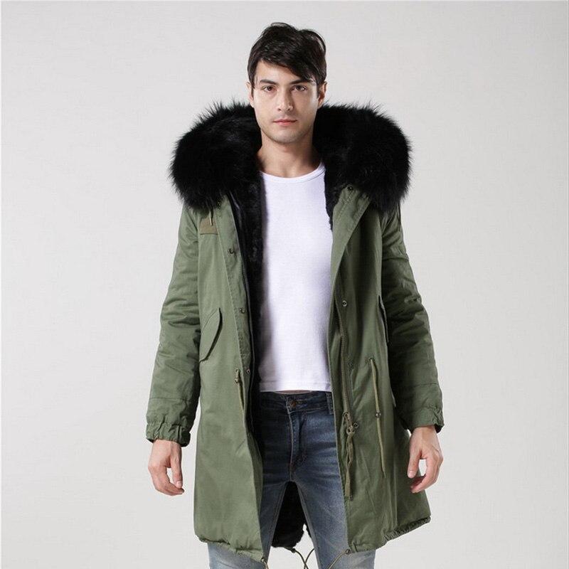 2016 nueva llegada de la manera hombres invierno grueso Pieles de animales collar Cuero no original acolchado chaqueta Parkas chaqueta con capucha s-4xl