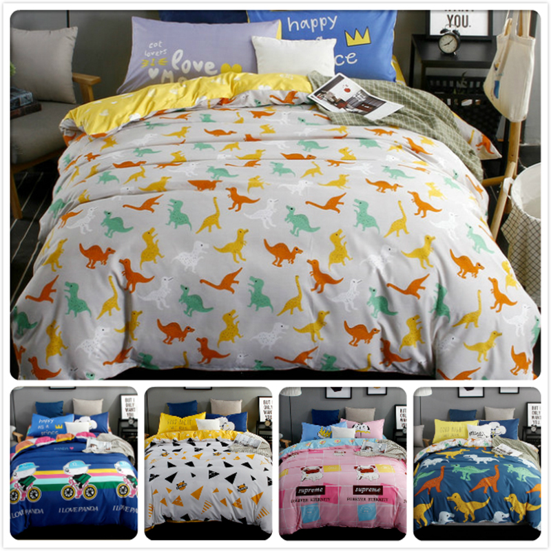 Power Source Dinosaur Pattern Kids Bedlinens 3/4 Pcs Bedding Set New Stylish Aole Cotton Winter Warm Bedclothes Queen Double Size Duvet Cover