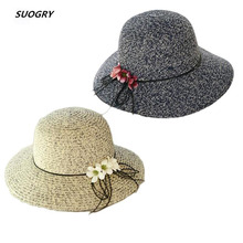 SUOGRY New Spring Summer Hats For Women Flower Wide Brimmed Panama Hat Chapeu Feminino Sun Visor Beach