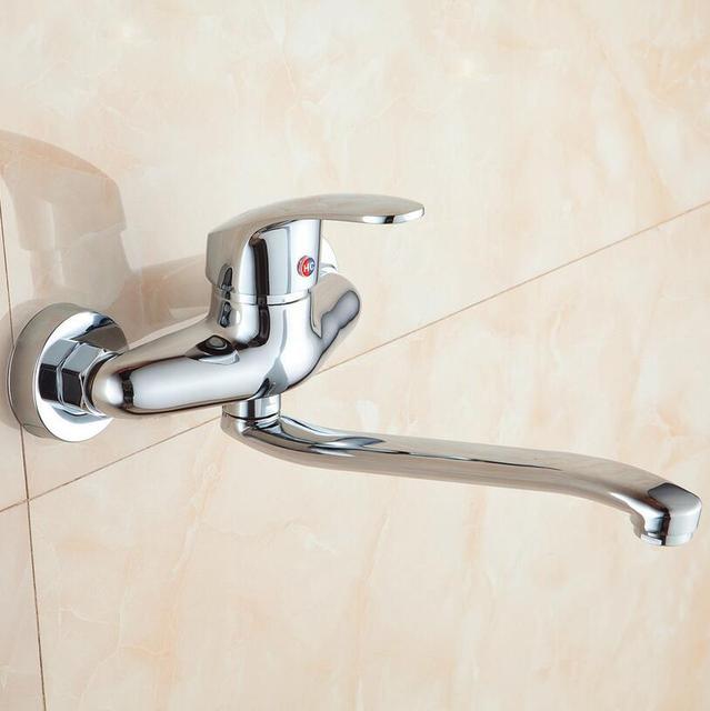 Latão cromado Banheiro Mixer Bacia Torneira Da Pia Tap Wall Mounted Hot & Cold Water Mixer Lavanderia Torneira de Alta Qualidade de Varejo