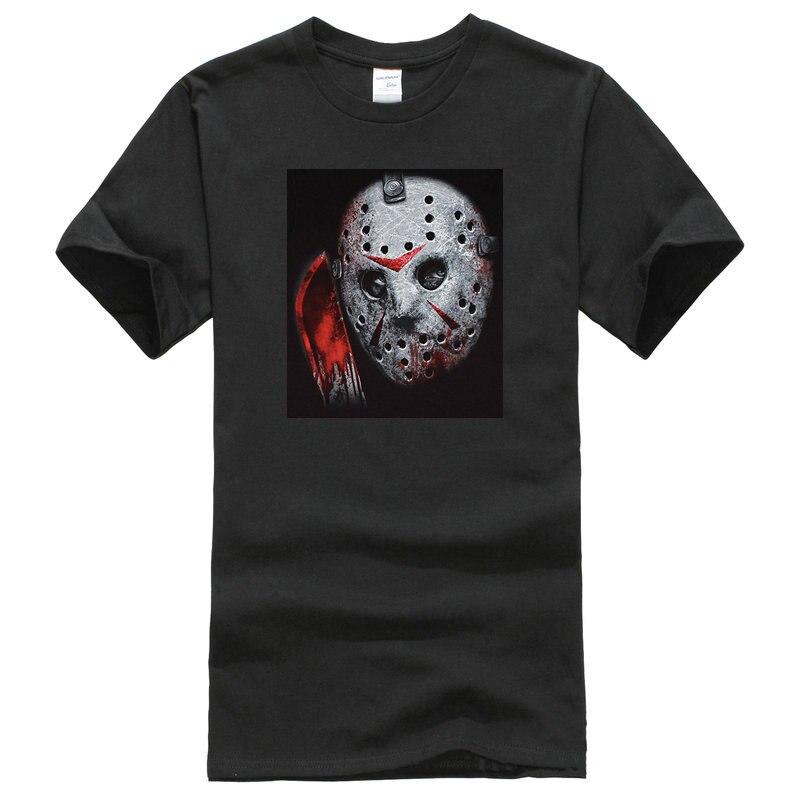 Tee Shirt Design Crew Neck Short Friday the 13th Mens Jason Close Up Airbrush Mask T-Shirt Black Printing Mens Shirt