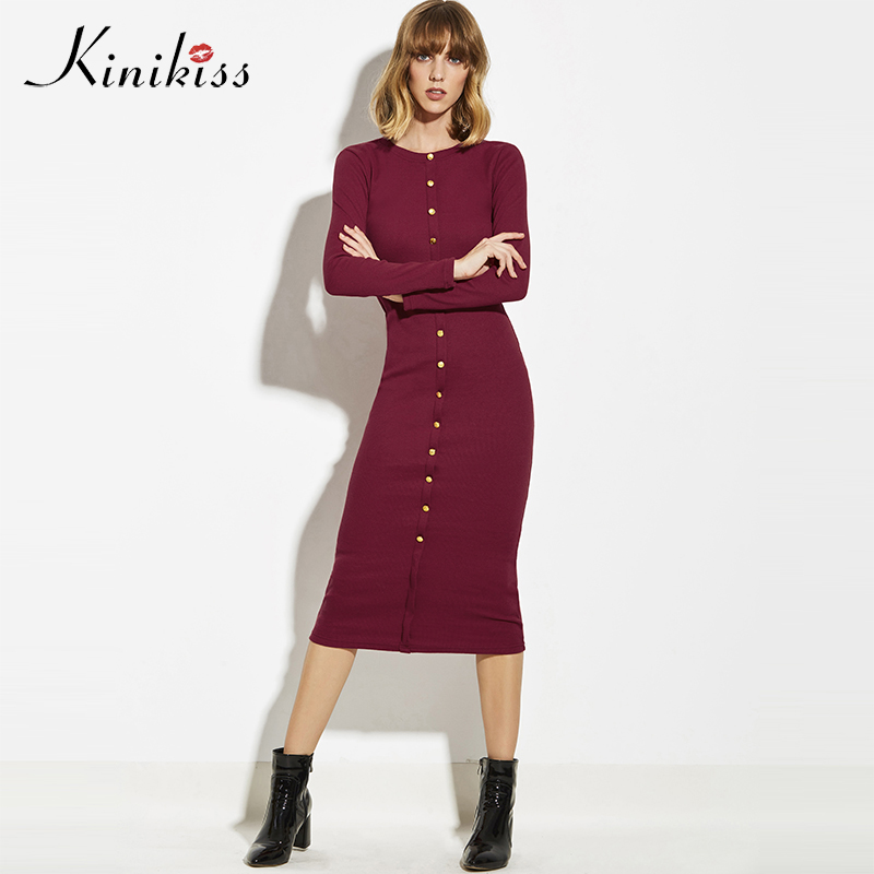 Kinikiss Women Elegant Button Sweater Dress 2017 Autumn Office Knitwear Dress Mid-calf Single-Breasted Bodycon Sexy Knit Dress