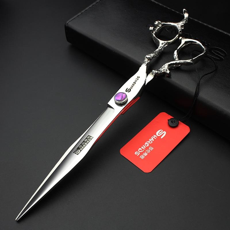 Sharonds 7 inch / 8 hair scissors purple gem dragon salon high quality barber made of 440c