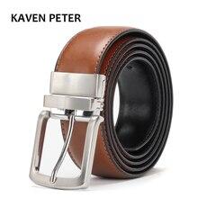 Men's Genuine Leather Belt Reversible For Jeans Male Rotated Buckle Dress Belts Designer Cowskin Leather Belts For Men Black