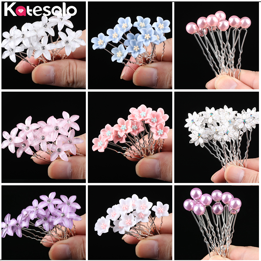 10pcs/Lot Wedding Crystal Resin Flower Hair Pins For Silver Bridal Hair Accessories Women Pearl Hair Clips Wedding Hair Jewelry(China)
