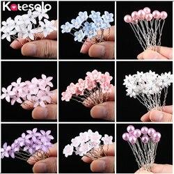 10 adet/grup Düğün Kristal Reçine Çiçek Saç pins Gümüş Gelin saç aksesuarları Kadınlar için Inci Saç Klipleri Düğün Saç Takı