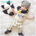 Humor Bear  Baby Boy Clothing Set Cotton Short Sleeve Cartoon T-shirt +pants 2pcs Infant Bebe