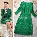 2016 Início Da Primavera Pista vestido de marca de luxo mulheres sexy Elegante bodycon all over lace crochet vestido de seda Verde/rosa Vestido de festa