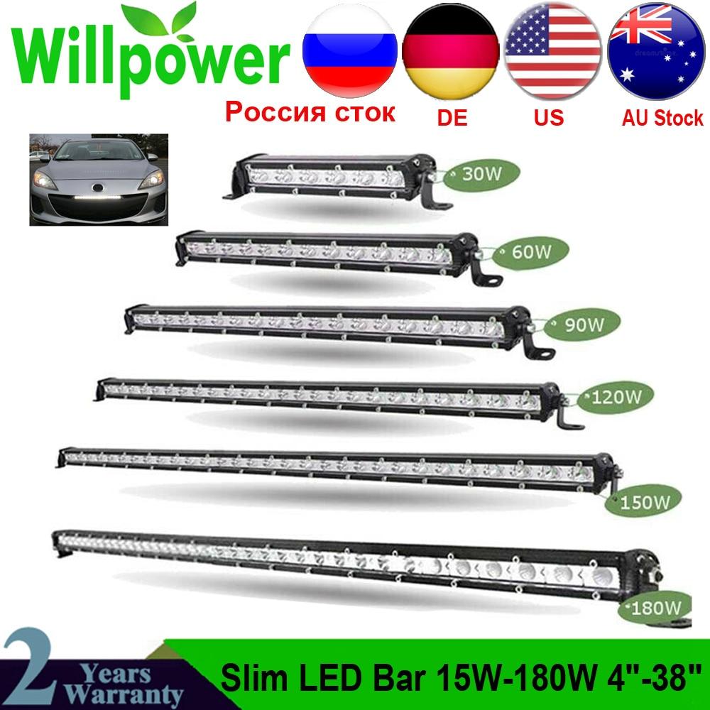 Super Brilhante Única Linha Slim LED Light Bar 90W 120W 150W 180W 60W 7
