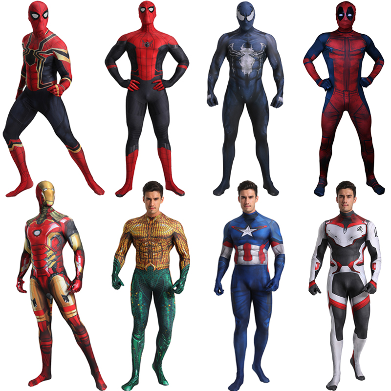 Erwachsene Spinne Aquaman Iron Man Captain America Venom Deadpool Ant-man Superman Kostüm Cosplay Halloween Superhero Kostüm Männer