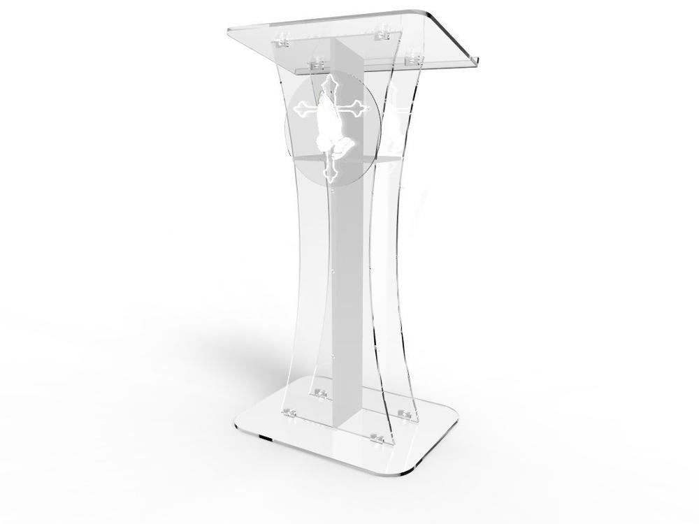 Приспособление отображает Подиум прозрачный призрак акриловый белый крест с молящимся рукой легко сборка требуется