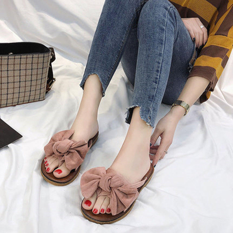 FAYUEKEY 2019 Bow Slippers Women Torridity Butterfly Sandals Slipper Indoor Outdoor flip-flops Beach Shoes New Fashion Female 3