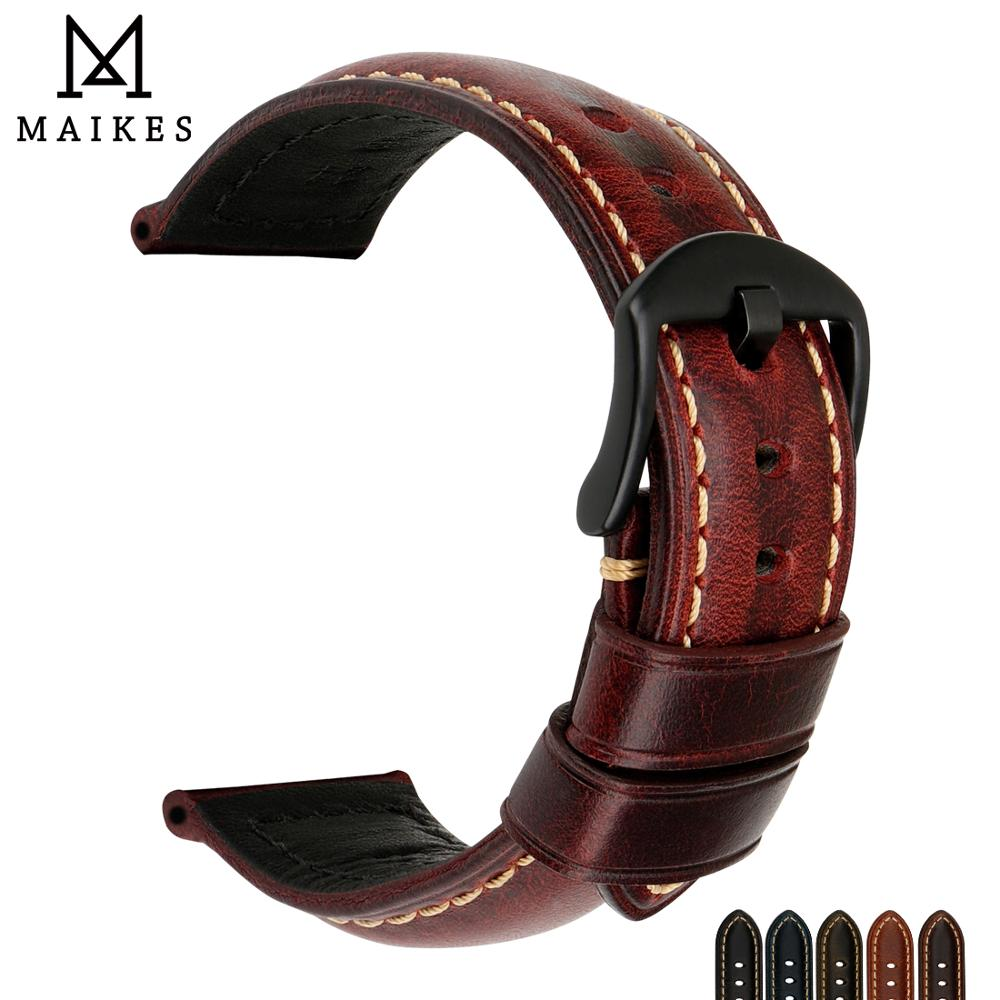 MAIKES Watch Accessories Watch Band 20mm 22mm 24mm 26mm Watch Strap Vintage Genuine Calf Leather Watchband For Panerai / Tissot
