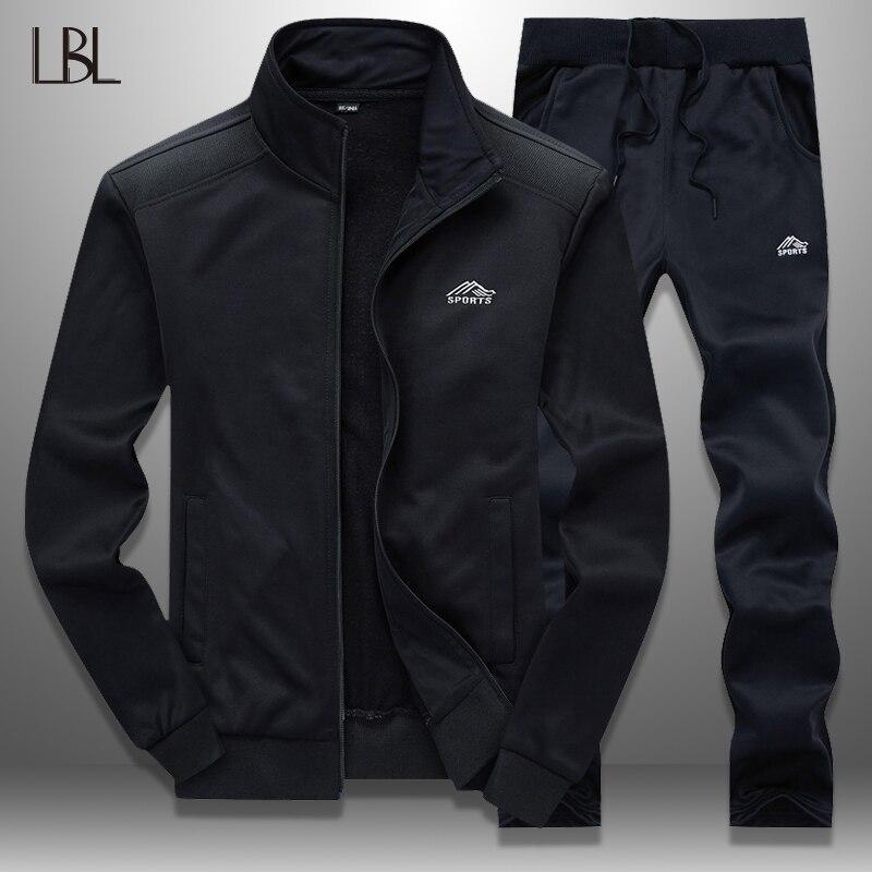 LBL Tracksuit Men Set Autumn Spring Sweat Suits Hoodie Men's Sets Streetwear Zipper Jacket + Pants Man Tracksuits Brand Clothing