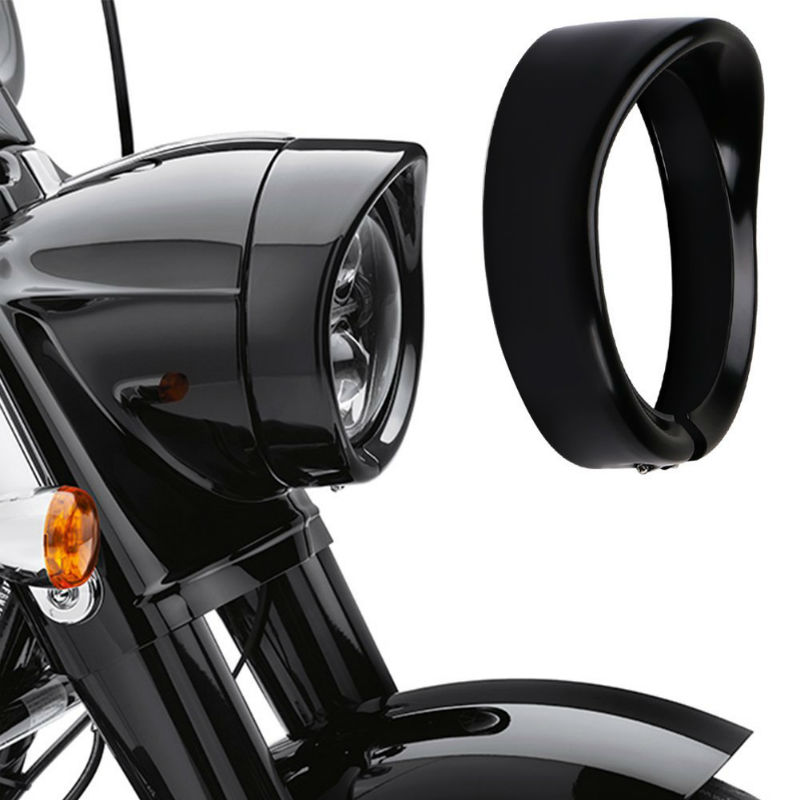 7Inch Motorcycle Visor Style Trim Ring, Black/Chrome Headlight Bracket For 1994-2014 Road King Models (FLHR)