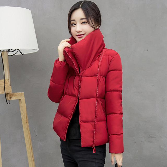 Inverno Mulheres Jaqueta Curta Gola Sólidos Grosso Parka Casaco Plus Size Rosa/Cinza/Preto/Vermelho 3XL Manteau Doudoune Femme