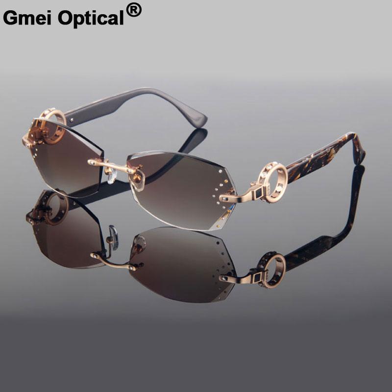 Gmei Optical Voguish Diamond Trimming Cut Rimless Women's Plain Sunglasses With Rhinestones on Lenses None Diopters Sunglasses