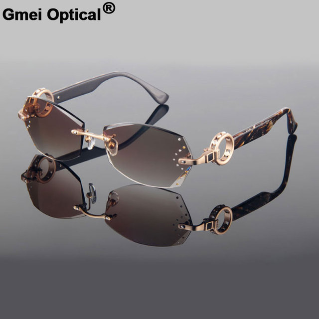 f6b27112e5c Gmei optique Voguish diamant coupe coupe sans monture femmes plaine lunettes  de soleil avec strass sur