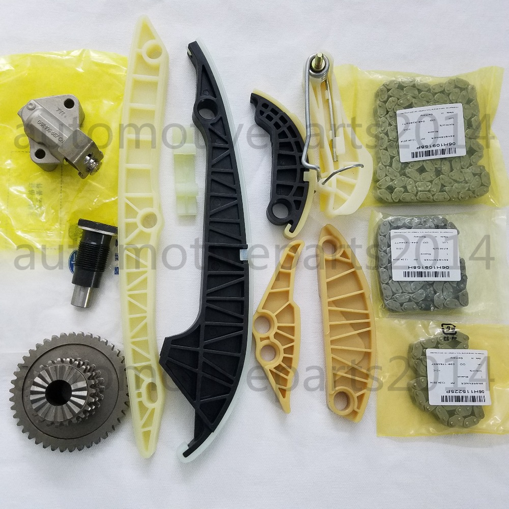 New Genuine Timing Chain Kit For Audi A3 A4 A5 A6 Q5 VW GTI Tiguan Jetta CC Passat B6 EOS 2.0T 1.8T 2.0 1.8 new timing chain kit 13 pcs for audi a3 a4 a5 a6 q5 tt allroad vw beetle eos gti jetta passat b6 tiguan cc 06k109158a 06k109467k