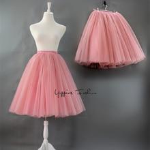 7 Layer 60cm Fashion Tulle Skirt Pleated Tutu Skirts Womens Lolita Petticoat Bridesmaids Vintage Midi Skirt Jupe Saias faldas