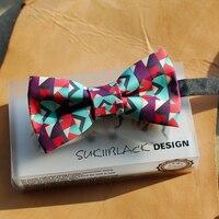 Vận chuyển miễn phí new thời trang giản dị thiết kế Thủ Công psychedelic quy mô bow tie hôn nhân chú rể mới món quà năm cưới đàn ông của Mũ
