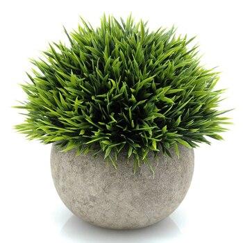 3 Adet Grup Yapay Plastik Mini Bonsai Bitkiler Benzersiz Sahte Taze Yesil Cim Gri Pot Ev Ofis