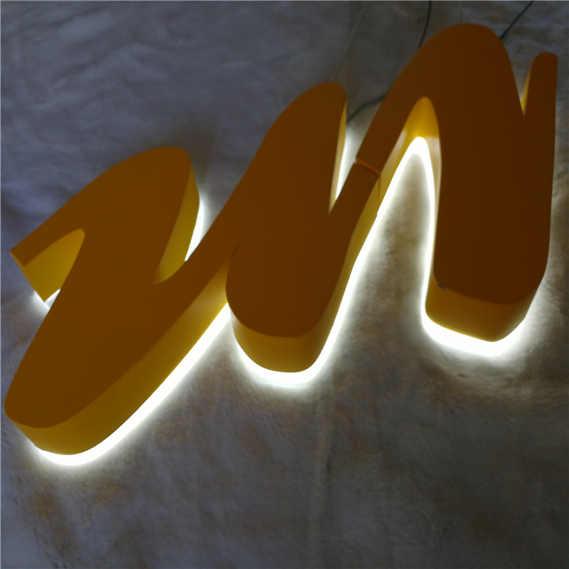 Factory Outlet Stainless steel LED back lighting letters with acrylic back, rear lit metal store signs with powder coated