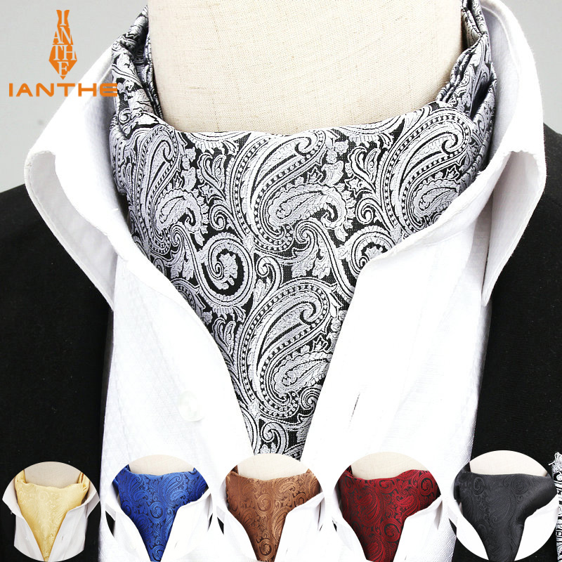 High Quality Men Ascot Neck Tie Vintage Paisley Jacquard Woven Necktie Cravat Tie Scrunch Self British Style Gentleman Neckwear