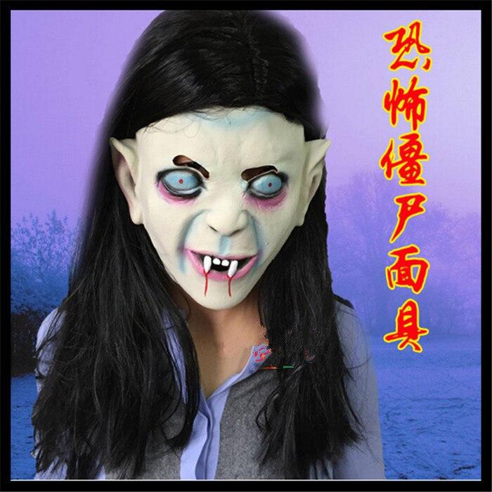 2016 г. Бесплатная доставка Хэллоуин Супер Страшные маски полноценно черный волосы и голубые глаза и длинные волосы белый вампир маски Товары...