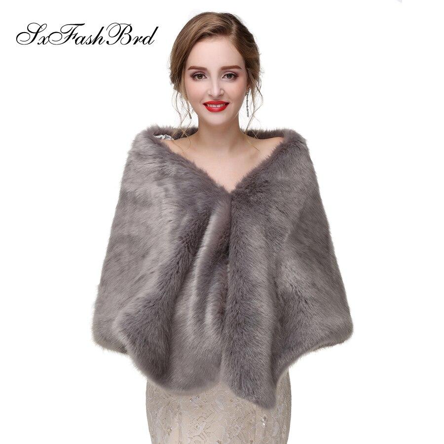 Warm Faux Fur Stoles Wedding Wrap Winter Wedding Bolero Jacket Grey Bridal Wraps Coat Accessories Wedding Cape Coat