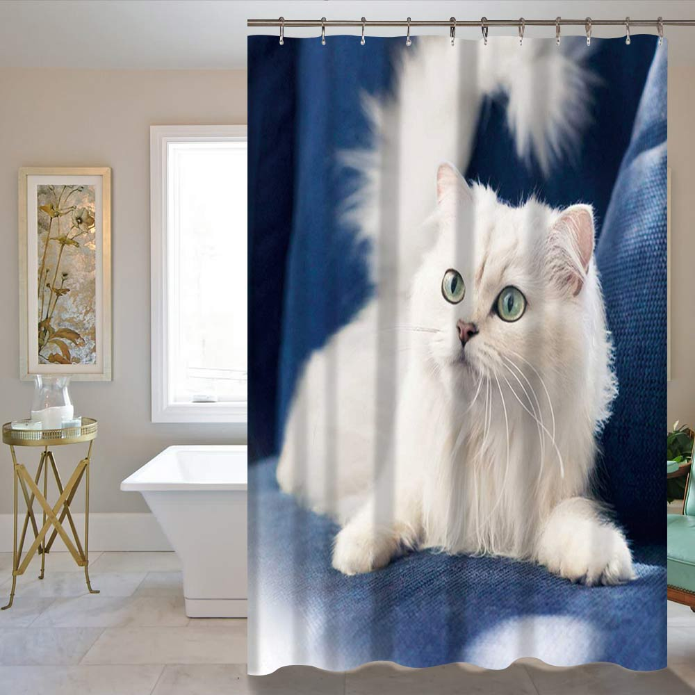 Custom New Cat Galaxys Space Waterproof Bathroom Shower Curtain 60 x 72 Inch/72X72Inch Wholesale Living Room Curtain Cheap
