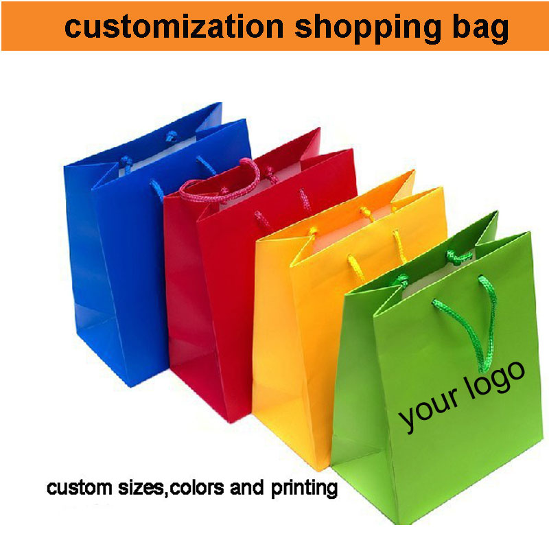 500pcs 50 60 shipping cost custom paper bag logo print your logo bag paper shopping bag