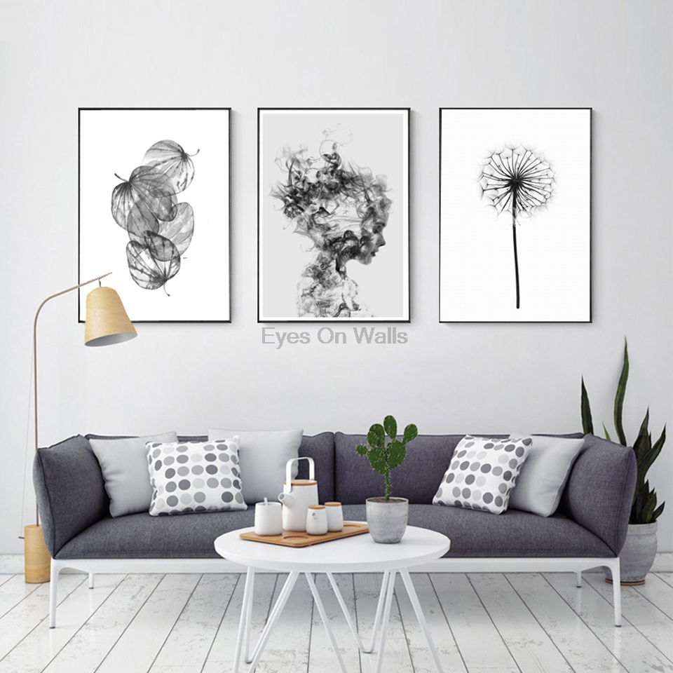 Nordic abstract poster and prints black white wall art - White walls living room ...