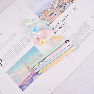 Image 4 - 48 stücke Gel Stifte Kawai Cartoon Kühlen trinken stroh schwarz farbige gel tinte stifte für schreiben Nette schreibwaren büro schule liefert