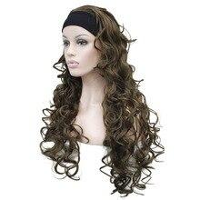 Strongbeauty женские длинные вьющиеся волосы 3/4 парики черный/белый Женская повязка парик 7 цветов