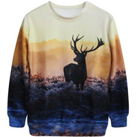 Harajuku 3D Print Grassland Dusk Elk Antelope Deer Sweatshirts Fashion Long Sleeve Women Hoodies Cartoon Animals