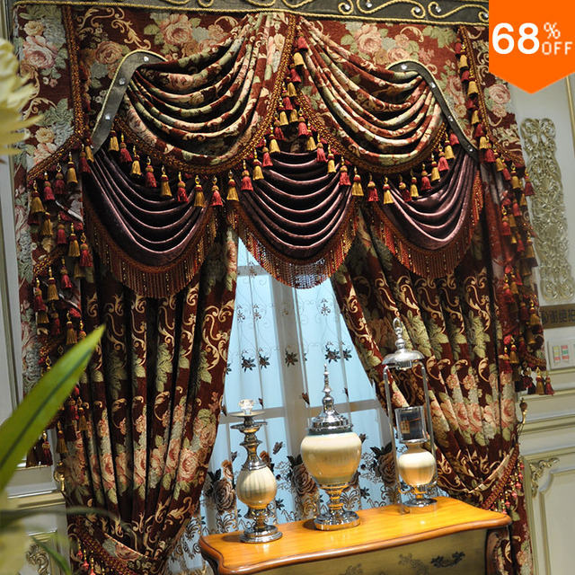 2018 New Ultimate monster flame Flowers pattern curtains Luxury living rooms bedroom Curtain coffee Sixshot Dinning Room Curtain