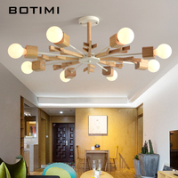BOTIMI New Arrival LED Chandelier Wooden Lustres For Living Room Wood Dining Lights Modern Ceiling Mounted Chandeliers Lighting