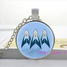 W-0117 New arrival Fashion Star Trek Necklace Star Trek logo Pendant Science Glass Dome Necklace handmade jewelry pendants-4