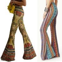 Fashion Flower High Waist Boho Pants Women Floral Printed Bell Bottom Pant Summer Wide Leg Flare