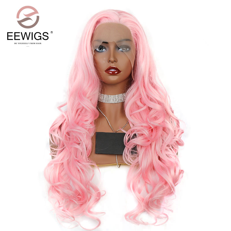 EEWIGS light Pink Wig Synthetic Lace Front Wigs Long Wave Wig for Women Hairstyle Natural Hair Real Picture